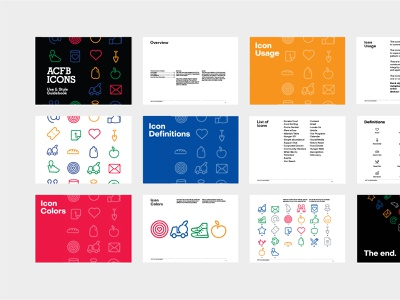 ACFB Icons Guidebook icon set guidelines guidebook colorful typography abstract vector icon design