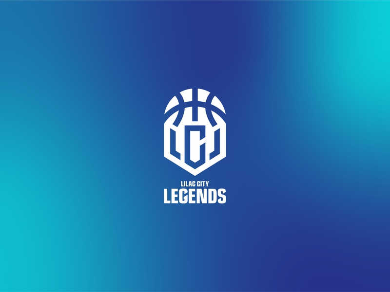 Lilac City Legends teal blue graphic design icon basketball vector logo branding