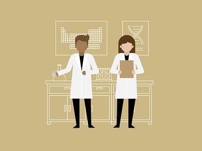 Healthcare 3 simple modern clean study scientists healthcare vector illustration design