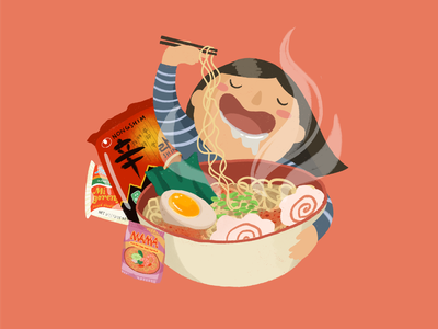 Instant Noodle, Instant Love asian food asian american foodie food illustration procreate hand drawn playful cute illustration ramen digital illustration illustration
