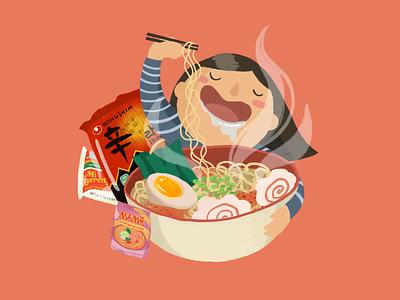 Instant Noodle, Instant Love asian food asian american foodie food illustration procreate hand drawn playful cute illustration ramen digital illustration illustration