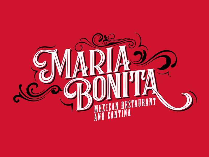 Maria Bonita Logo mexican food mexican restaurant red swirls mexican illustrator vector branding retail typography design eleazar hernandez san antonio logo