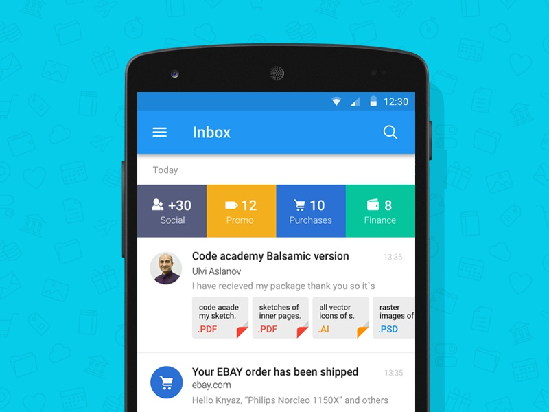 Mail.ru Concept Material Design ios android material app mail mail.ru