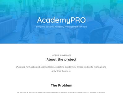 AcademyPRO SAAS app website web app ux branding design