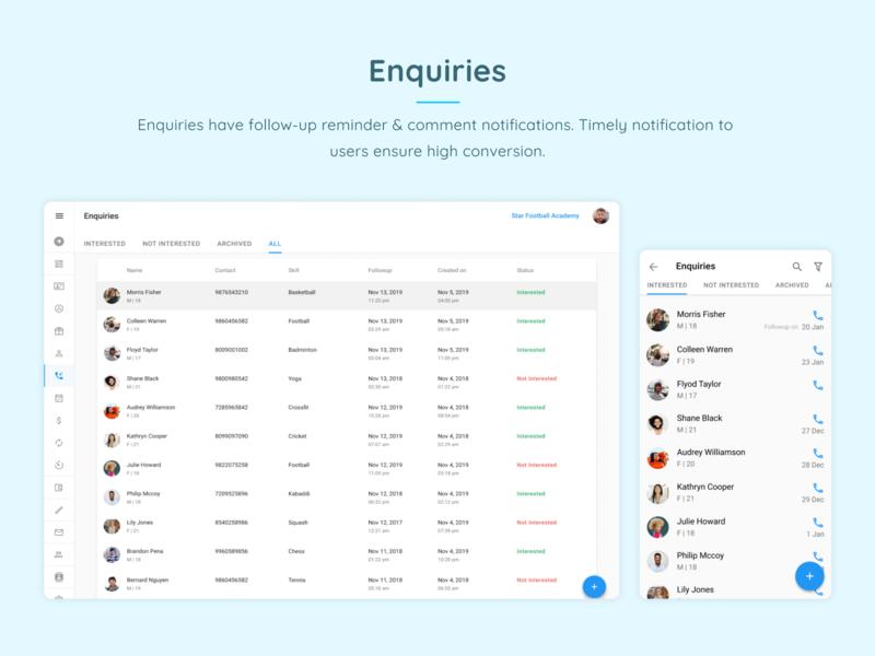 Enquiries design web app ui ux followupreminder enquiry