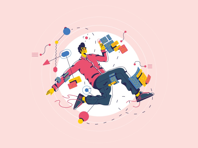 Software engineer Poster jump charachter people poster app ui illustration
