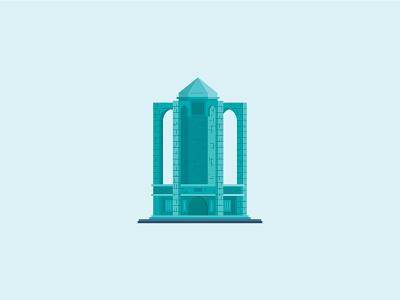 Baba Tahir's tomb illustrator vector art hamedan iran building landmark monument icon baba tahir tomb architechture snapp illustration