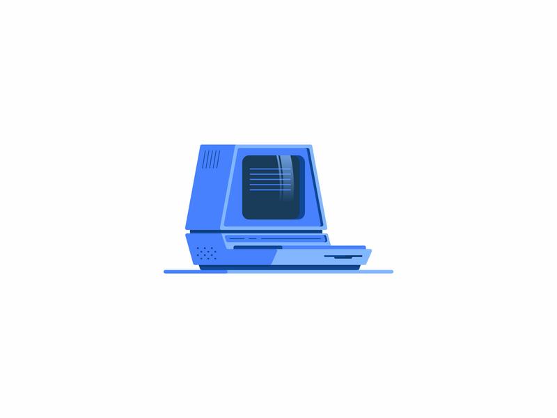 Retro Computer technology computer pc retro vector design icon illustration