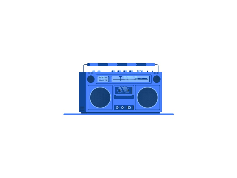 Retro Radio retro music nostalgic nostalgia blue tape casette ghettoblaster radio icon illustration