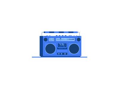 Retro Radio retro music nostalgic nostalgia blue tape casette ghettoblaster radio icon illustration