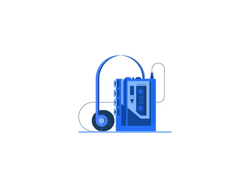 Walkman player 80s 90s nostalgic nostalgia blue vintage casette walkman music retro icon illustration