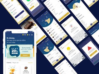Derby Restobar app VD app design mumbai ux ui design rewards and offers horse racing app racing app gaming app food ordering app ui ux app design restaurant app