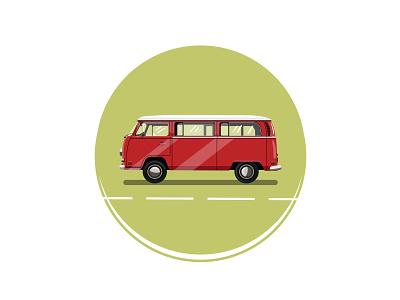 Volkswagen Bus van bus retro vw van vw bus vintage icon vectorart graphicdesign flat illustration flatdesign design illustrator illustration