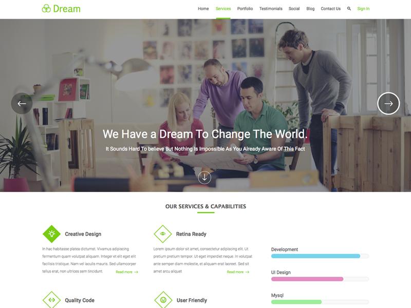 Dream Landing page - free sketch file attached. green debut shot flat design free landing page sketch