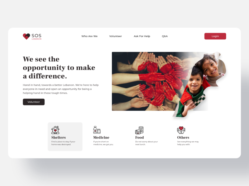Landing page for voluntary website to help Lebanon donation donate helping volunteer help web design webdesign website web home landingpage landing sos