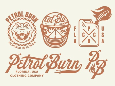 Petrol Burn florida helmet branding logo type script jerry can fire reptile crocodile aligator motorcycle clothing