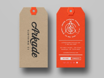 Arkade Hang Tags arkade clothing tags neon branding monogram