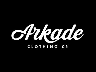 Arkade Clothing Co. arkade clothing logo script ligature