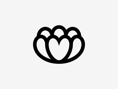 Flower + Heart mark logo icon petal heart flower