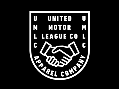 United Motor League Co. clothing branding logo badge crest handshake hands motorcycle