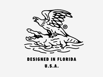 Designed in Florida, USA mark clothing logo swamp usa america eagle aligator gator florida