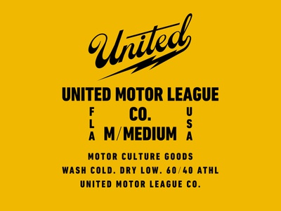 United Motor League Co. Label label design lock-up bolt script clothing t-shirt size tag label