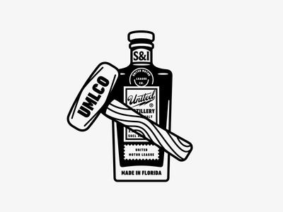 UMLCO Legacy Mark apparel branding logo mark alcohol bottle distillery t-shirt motorcycle whisky sledgehammer hammer scotch