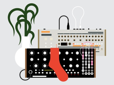 Mother 32 + TR-09 music electronic drum machine 909 roland moog plant synthesizer illustration