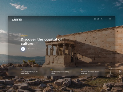 Discover Greece | Re-imaging the Tourism Experience ux design redesign vacations sea landscapes travel tourism modern minimal greece design system animation ui design
