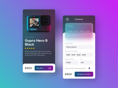 Credit Card Checkout - Daily UI #002 productdesign product gopro visa payment creditcard figma app ui app design dailyui002 dailyuichallenge dailyui ui mobile app checkout page checkout