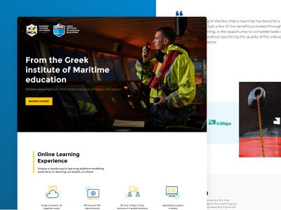 BCA Shipping Education | Online Courses Landing page design ui design landing page ui uidesign courses online training maritime college eduction shipping