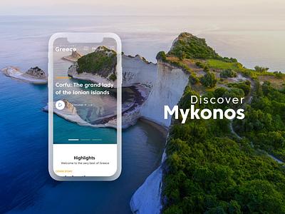 Discover Greece | A Travelling Guide for Greece minimal application design app 360 vacations tourism world island travel blog design system ui design animation