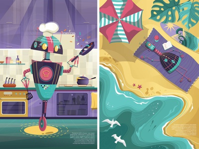 Robots chef cook cooking ocean sea sun summer beach vector kids illustration robotics illustration digital illustration character design robots character adobe illustrator