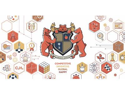 Banner presswall digital painting vectorart art science illustration science school logo study school animal bear design vector branding banner adobe illustrator digital art illustration digital illustration