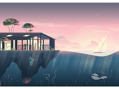 Dream house mountain landscape house sky sunrise sunset ship boat orca whale ocean sea design vector adobe illustrator character design character digital art illustration digital illustration