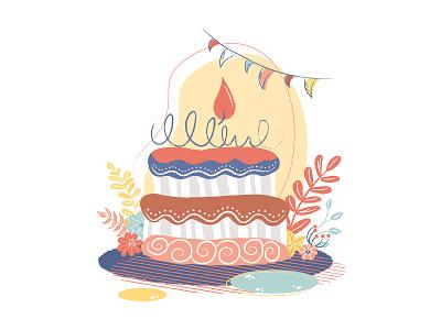 Birthday cake bright bright color illustrator flag candle flower birthday party fun party cake birthday cake birthday kids illustration design cute vector adobe illustrator digital art illustration digital illustration