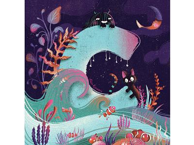 36 days of type 36daysoftype typogaphy alphabet moon night wave ocean sea fish monster cat plant illustration plant cute kids illustration character design character digital art illustration digital illustration