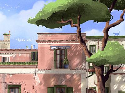 Italian street italian sky summertime summer house illustration city illustration cityscape italy house city tree cat bird adobe photoshop cute digital art illustration digital illustration