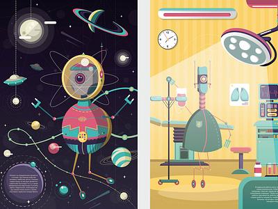 Robots universe cosmonaut medicine doctor cosmos robotic robots robot design kids illustration vector adobe illustrator cute character design character illustration digital illustration digital art