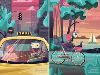 Robots landscape taxi sea forest bycicle poster design kids illustration vector adobe illustrator cute character design character illustration digital illustration digital art