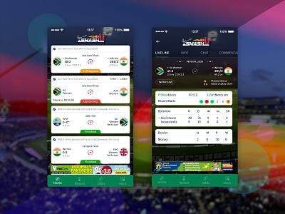 Live Cricket Match Mobile App UI Design mobile uiux mobile ui design mobile design mobile application mobile ui mobile app design design ux ui