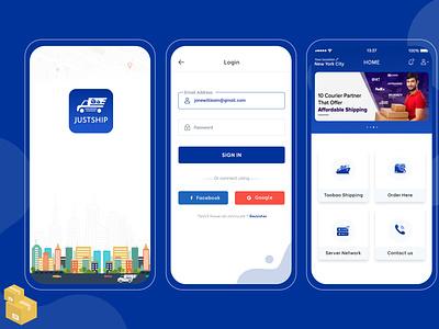 Justship Goods Transport Services App Design mobile design mobile app design app design ux webdesign illustrator animation graphic design ui design web branding illustration design