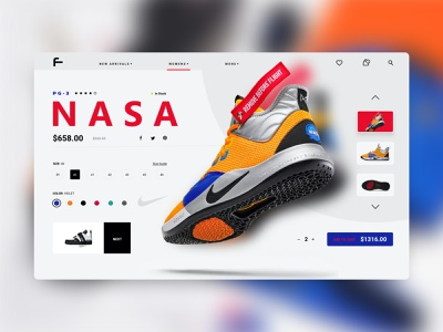 NASA sneakers product page flight space nasa online store fitness sports sneaker cover uxui