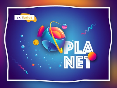 """Planet """"Skillarius"""" gradient banner first shot invite colorful space planet"""