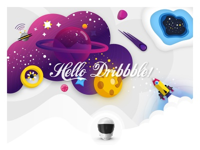 Hello Dribbble shuttle planets thanx color debut space