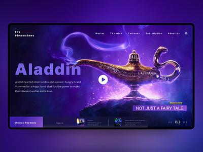 Aladdin Header for a Slider color violet clean ux webdesign banner header ui movie