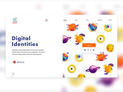 Design Studio Header vector banner studio typography colorful planets illustraion design ux ui