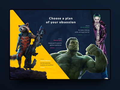 Subscription section of The Dimensions platform movies webdesign landing page gradient marvel ux ui banner