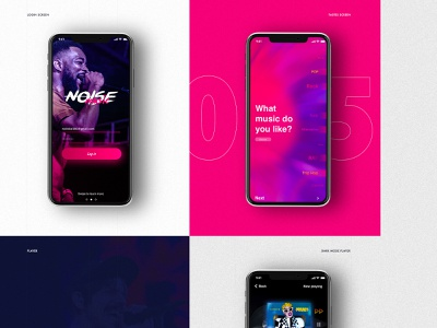 The Noise Music App gradient animation motion interaction material android ios music interface application uiux ui