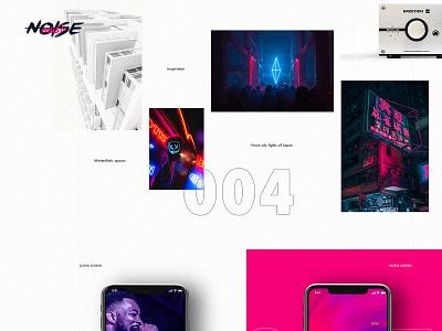 The Noise Music App inspiration grid web design case ux ui minimalistic application neon